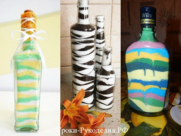 рисунки соли в бутылках