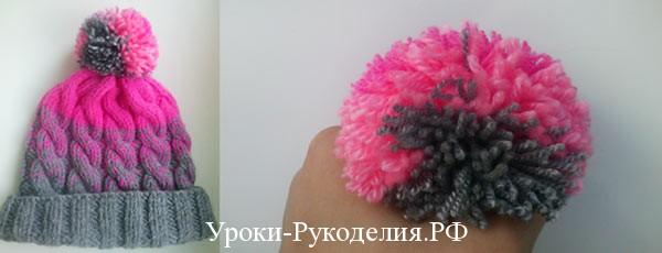 Вязаная шапочка спицами с градиентом