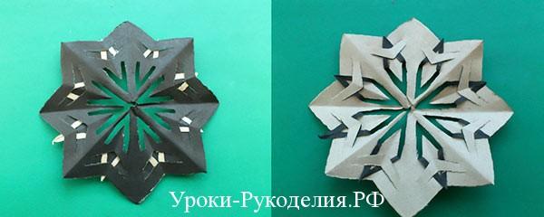 вырезание бумажных снежинок
