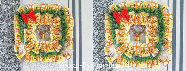 Рождественский венок из карамельных конфет