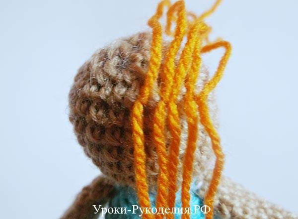 волосы вязаной кукле