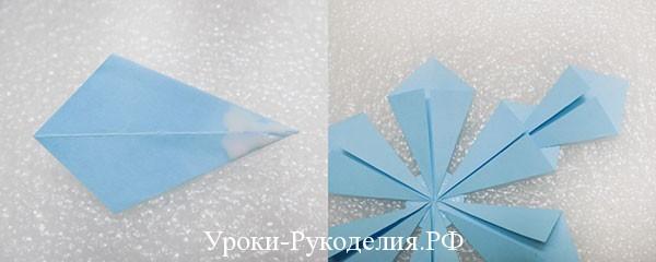 делать снежинку оригами