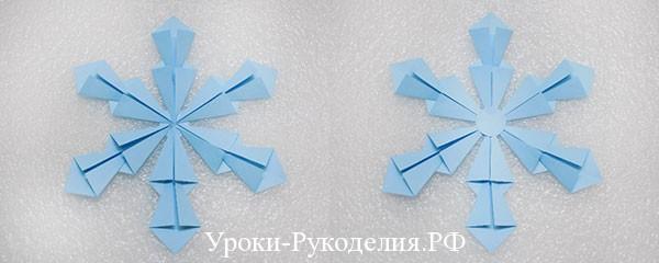 оригами объемная снежинка