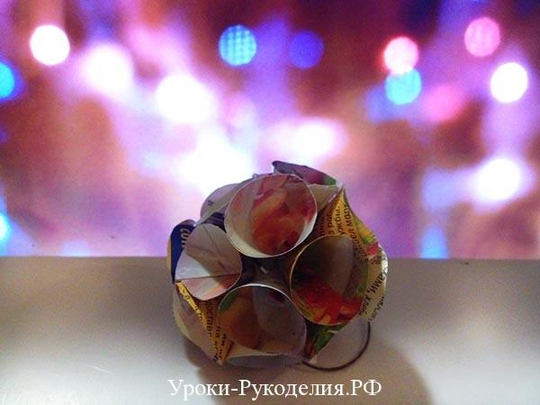 елочный шар из бумаги