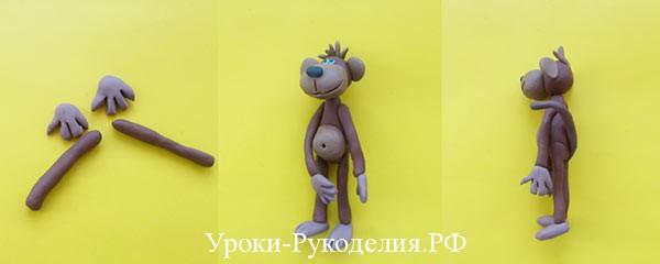 обезьянка из пластилина на новый год