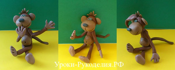 веселая обезьянка из пластилина