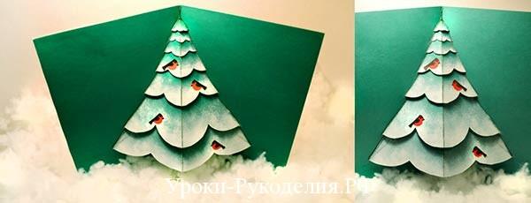 Новогодняя открытка-раскладушка «Ёлочка»