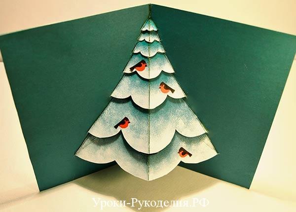 объемная открытка с елочкой