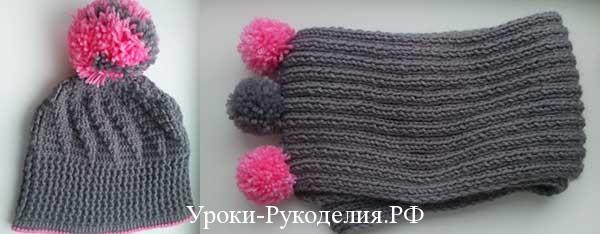 шапка и шарф для ребенка связать