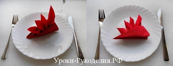 стрелиция из салфетки на стол
