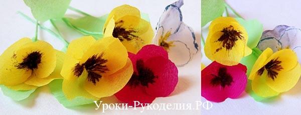 маленькие цветы из бумаги