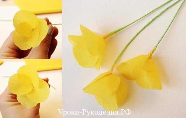 скрепляются цветок и ножка