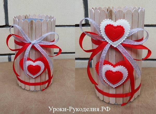 сердечки на вазочке