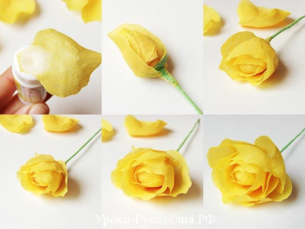 делаем розу из креп бумаги