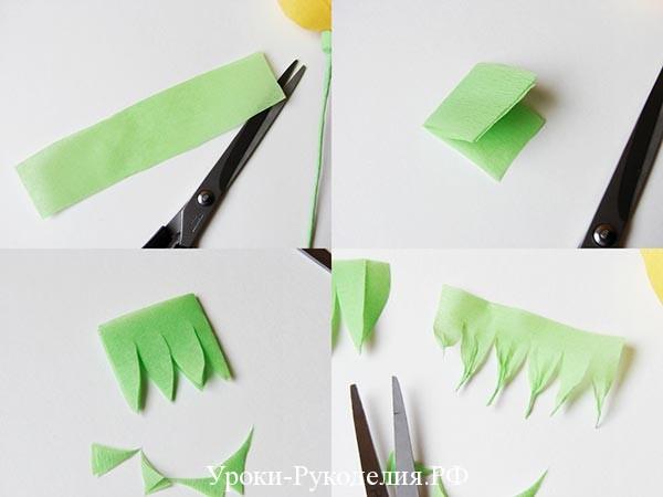 из бумаги нарезать листья