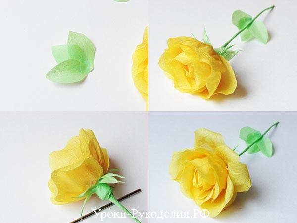 бумажную розу руками