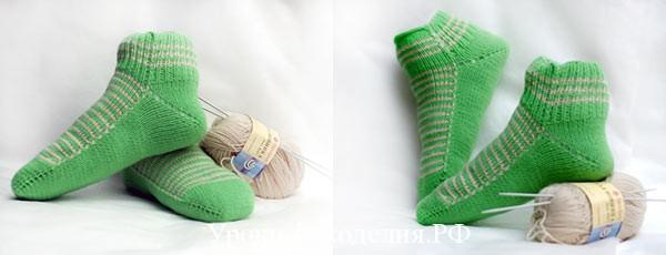 Женские носки на двух спицах