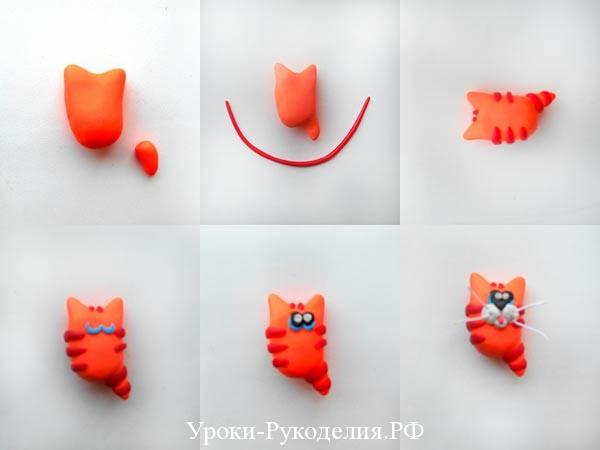 котик из полимерной глины