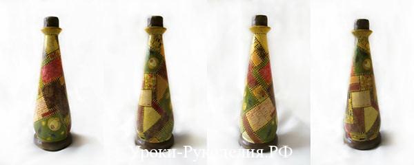 бутылка в технике пэчворк