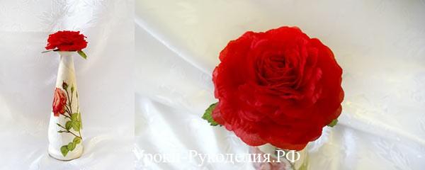 Декупаж бутылки с крышкой из лепестков роз