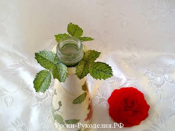 декор бутылки роза