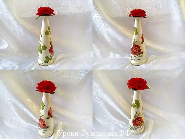 декупаж бутылки с розой