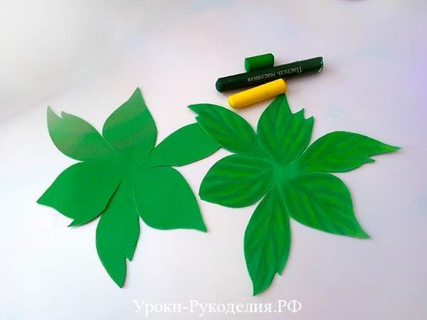 листья для пиона шаблон
