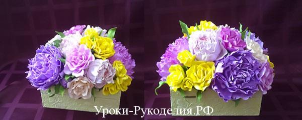 Шкатулка с букетом цветов из фоамирана