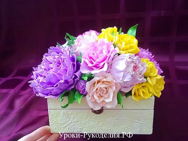 декор шкатулки цветами