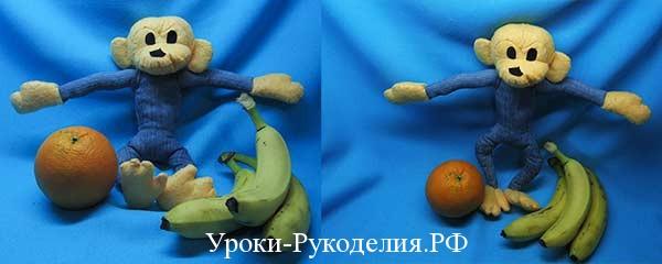 Забавная обезьянка из джинсовой ткани своими руками