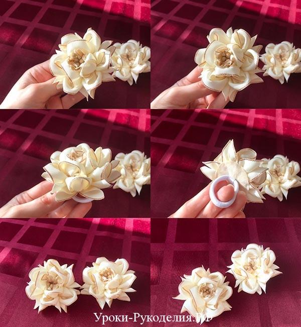 бежевые цветы из репсовой ленты