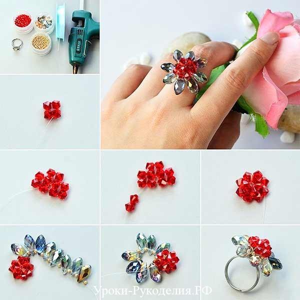 кольцо из красного бисера